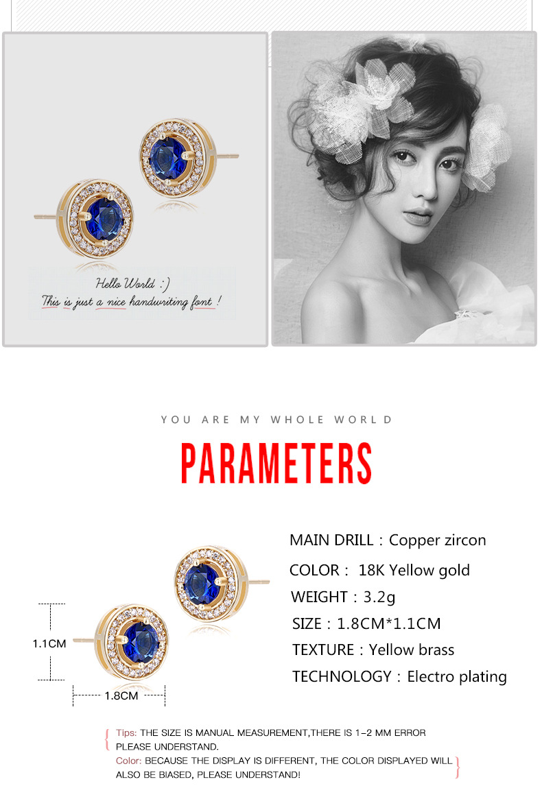 Novelty gold plated round earrings lady stud earrings
