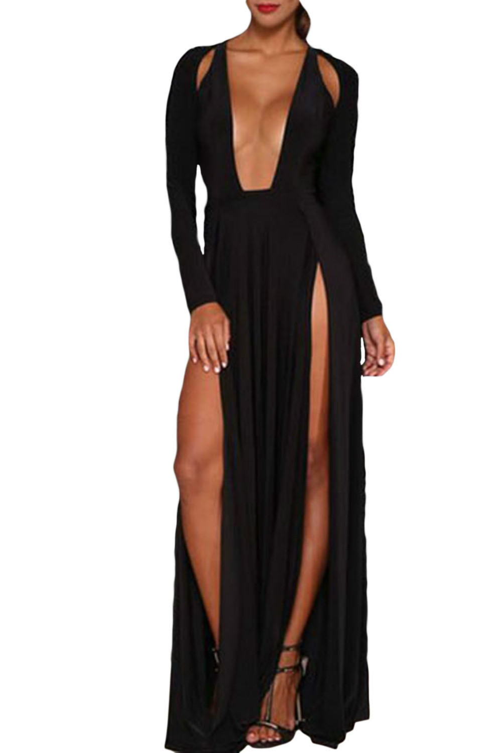 Get Quotations · sexy club women s high thigh split long dress 2015 new  Draped V-Neck Black Individual 48d745a6e