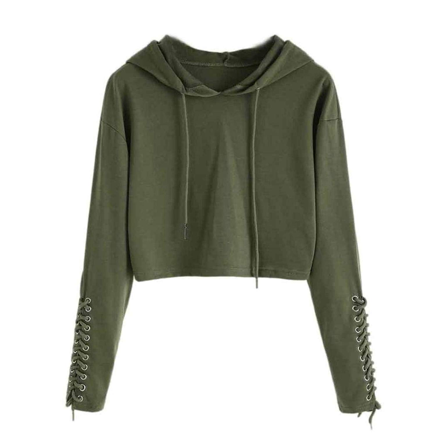 Women Hoodie,Ladies Fashion Solid Lace up Long Sleeve Sweatshirt Sports Crop Top Pullover