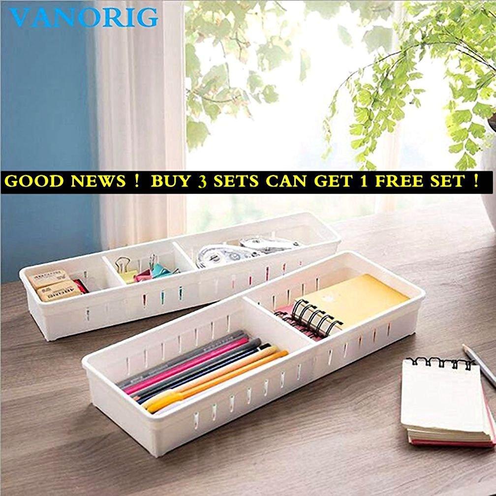 Creative Storage Drawers Drawer Organizers VANORIG Plastic Drawer Dividers Drawer Storage Box Stationery Makeup Storage Box ,Set of 4 (White)