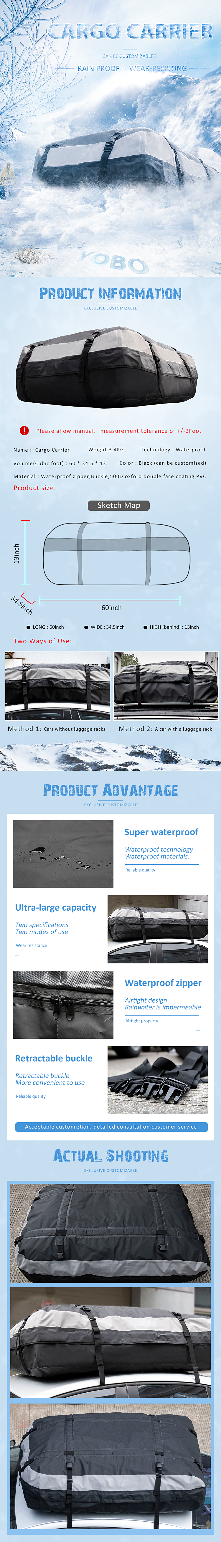 Premium quality cargo carrier professional car Waterproof Roof Top Bag fits vehicles with or without roof racks