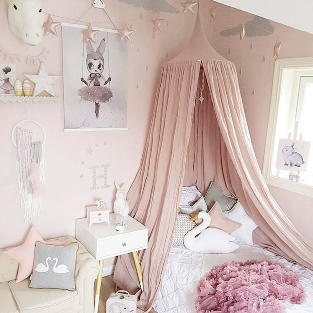 Buy Princess Girls Bed Canopy Castle, Dix-Rainbow White Fairy Net ...