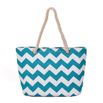 Canvas Beach Bag With Zipper Pocket Inside Tote Women Use Ping