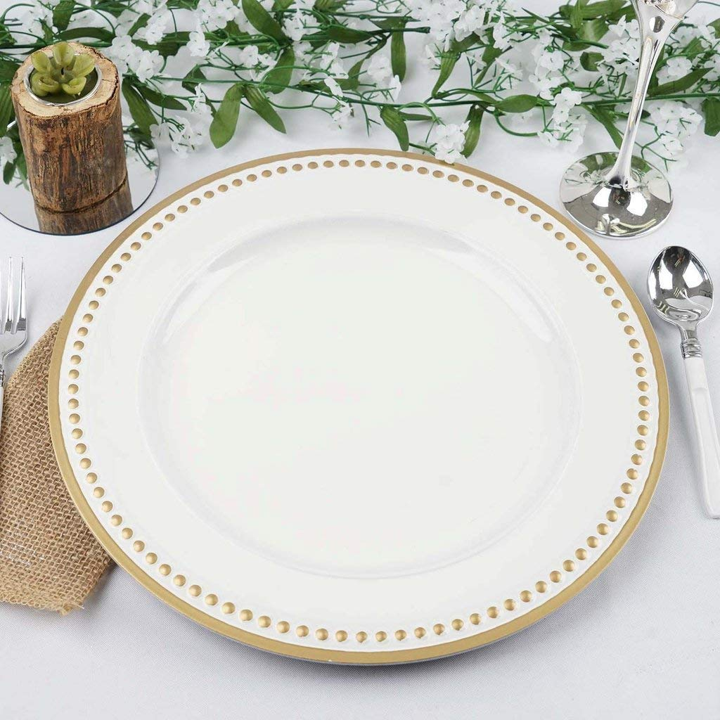 "Tableclothsfactory 13"" Round Gold Rim Crystal Beaded White Acrylic Charger Plates Wedding Party Dinner Servers - Set of 24"