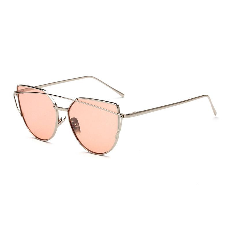2018 Cat Eye vintage Brand designer rose gold mirror Sunglasses For Women Metal