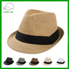 manufacturer cheap men's natural straw rolled up brim straw fedora hat for wholesale