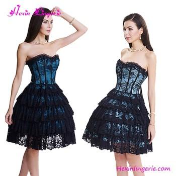Wholesale Light Blue Lace Gothic Back Prom Lace Corset Dress Black