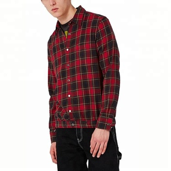 Custom Men Fashion Chest Patch Pocket Plaid Red Flannel Shirt With