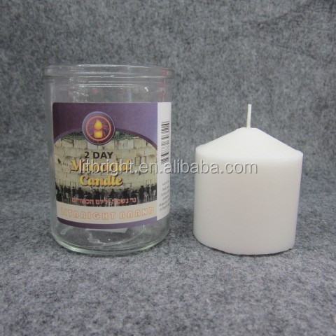 Colore bianco pressed glass jar holder Ebraica candele religiose