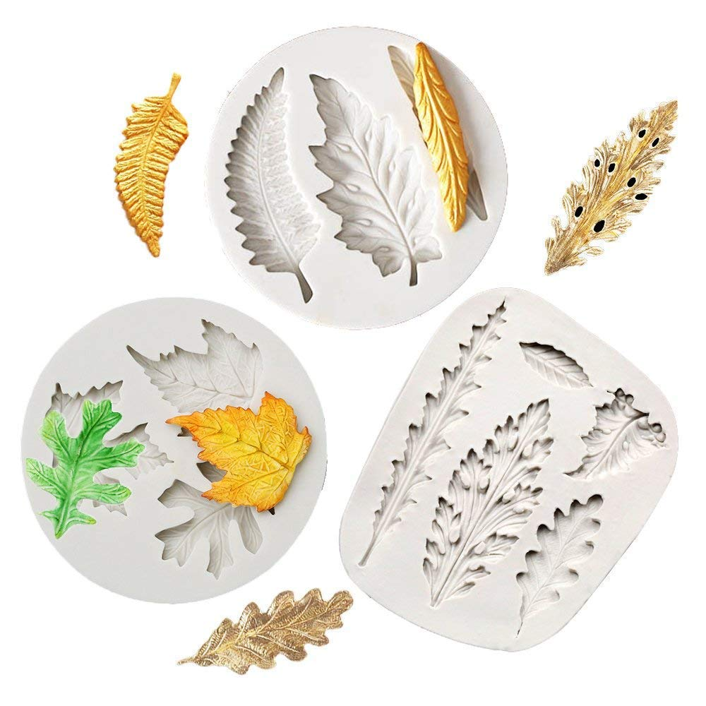 3Pcs Leaves Silicone Fondant Molds, Leaf Candy Mold Cake Sugar Craft Mold Cake Candy Making Mold Cake Baking Tools Chocolate Cake Decorating Molds DIY Cake Maker Cupcake Topper Clay Soap Molds (2#)