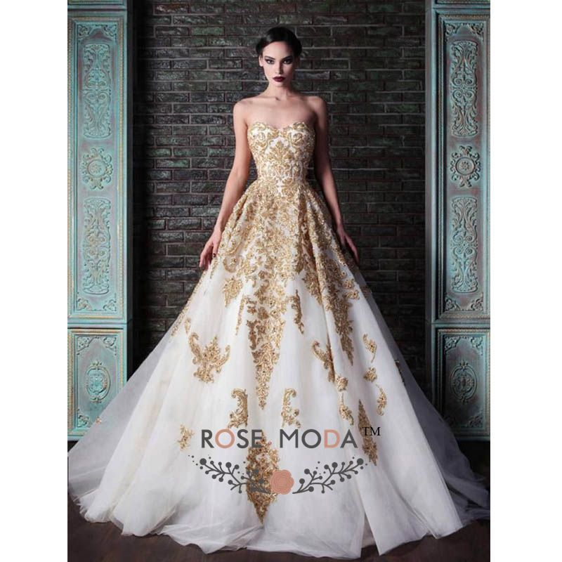 Wedding Dress White And Gold: Luxury White And Gold Ball Gown Strapless Sweetheart
