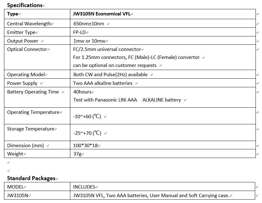 JW3105N,pocket size,light weight,mini fiber visual fault locator,visual optical laser source