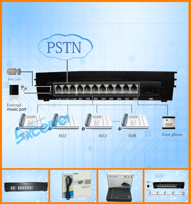 Excelltel /pabx System / Soho Pbx / Mini Pbx/md206 2 Co Line 6 ...