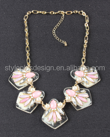 N70178I01 Colorful Beads Quality Cheap Children Necklace Pink Flower Jewelry Necklace for Children