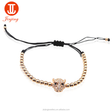 New Fashion Male Adjustable Bracelet With Stainless Steel Bead and Leopard Head
