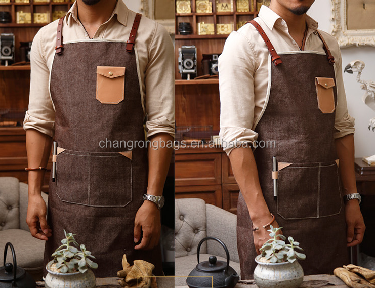 Vintage Denim Leather Barista Apron,Denim Apron Wholesale
