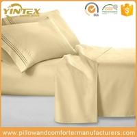 High quality solid 90gsm brushed microfiber embroidered bed sheet set