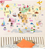 Kids Colorful decal DIY world map wall stickers