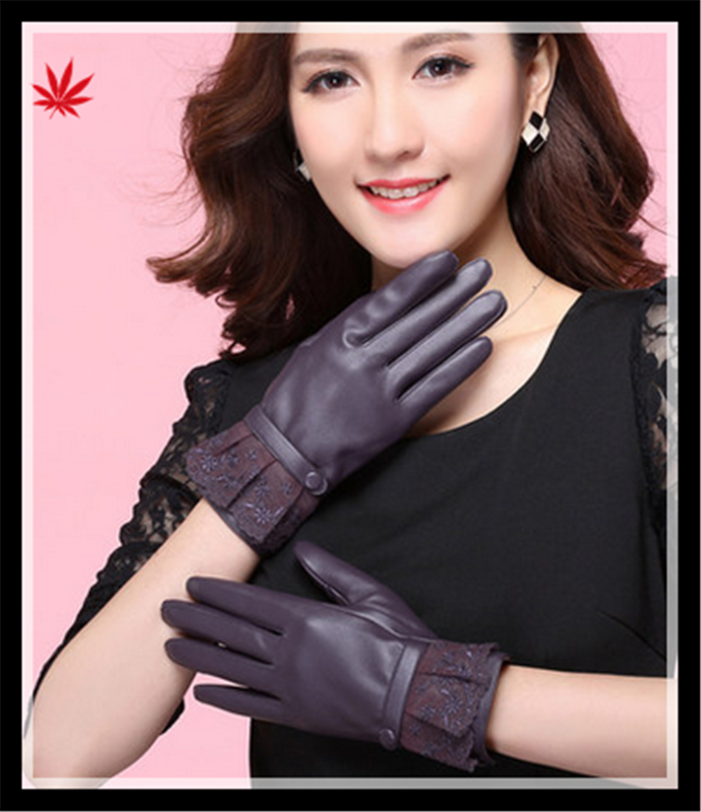 Lady's high-class lace cuff genuine leather gloves