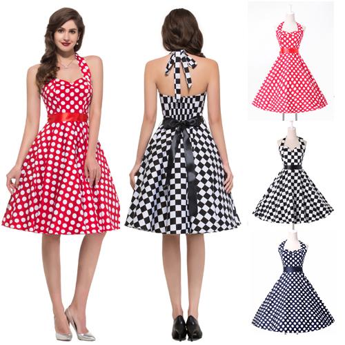 Get Quotations · 2015 Summer Women Cotton 50s Vintage Dresses Polka Dot  Print Plaid Dress Rockabilly Retro Swing Prom b515aea20b07