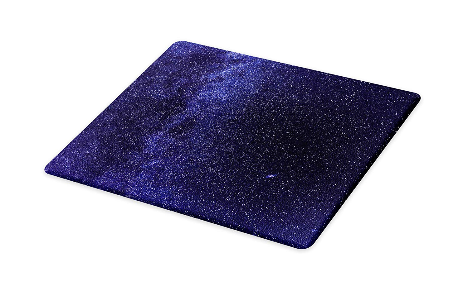 Lunarable Dark Blue Cutting Board, Night Sky with Stars Milky Way Cosmos Galaxy Infinite Universe Celestial, Decorative Tempered Glass Cutting and Serving Board, Large Size, Indigo Dark Blue