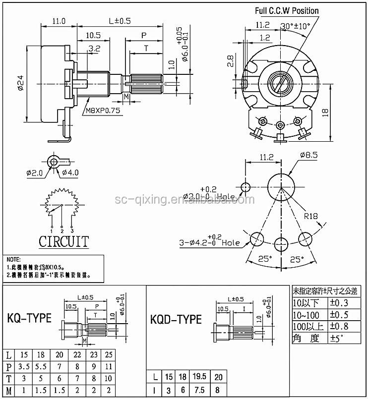 high quality 24mm rotary potentiometer guitar