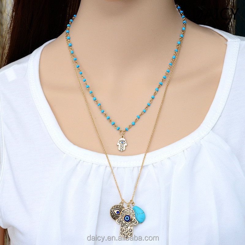 DAICY cheap wholesale fashion women Turkey Fatima eyes layered turquoise necklace