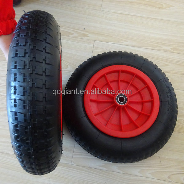 Pneumatic rubber wheel 3.25/3.00-8 with plastic rim and good bearing
