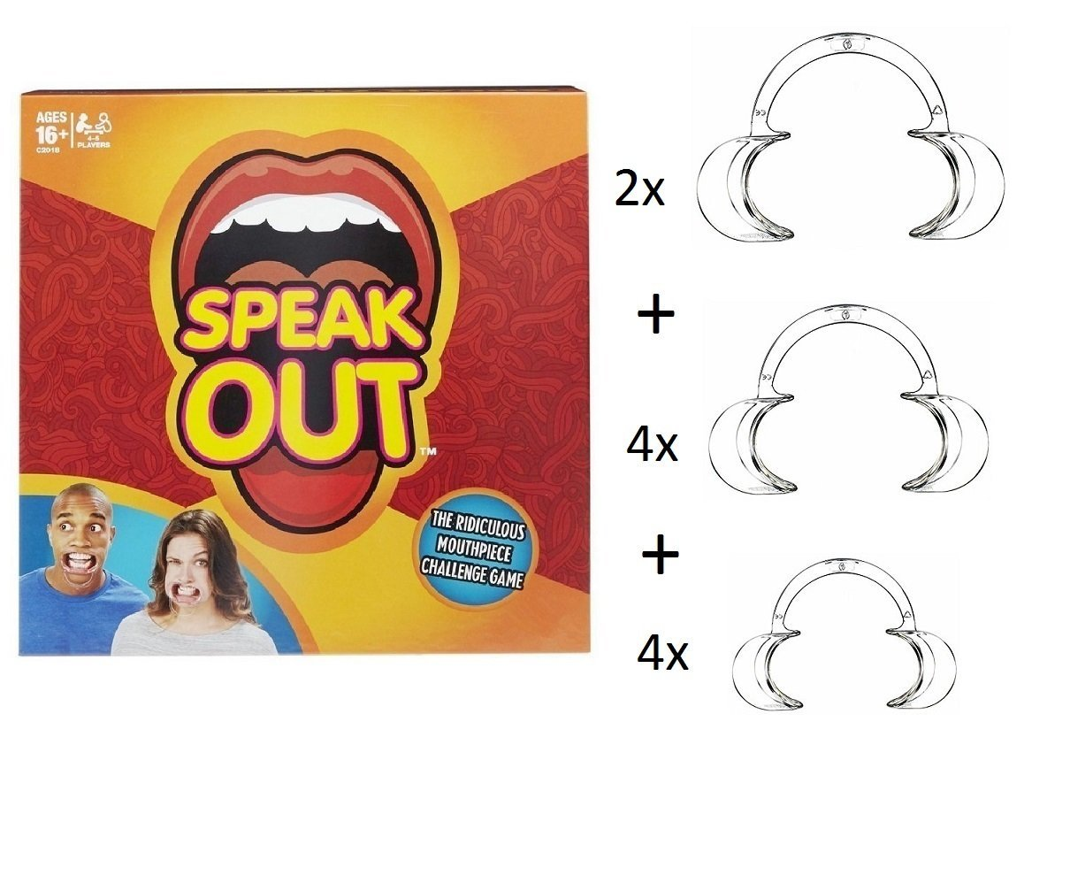 """Hilarious Mouth Guard Party Game + 10pcs Dental Lip Cheek Retractor Mouth Opener Prop for Fun """"Watch Ya Mouth Game"""" & """"Speak Out Game """" Speak Out Mouth Pieces Lipless Game"""