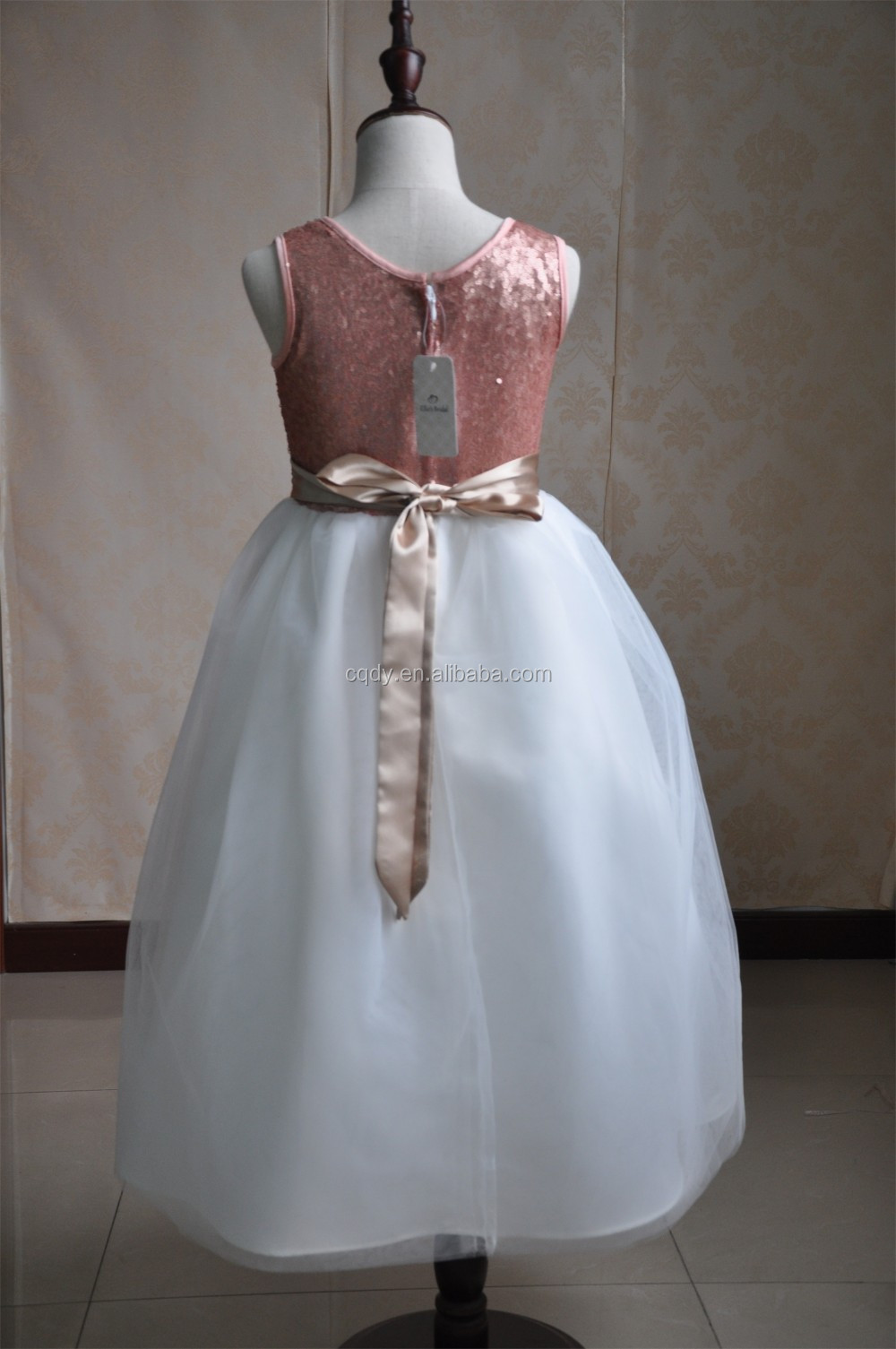 2016 New Color Pink Real Flower Girl Dresses Sequin Party