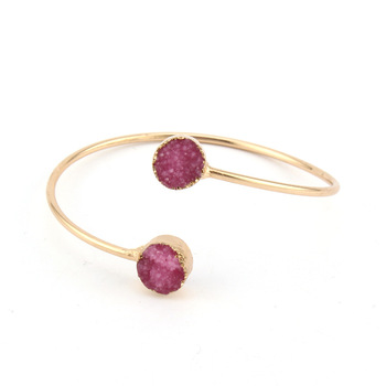 New fashion open ended cuff stone bangle for ladies