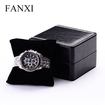 FANXI Custom Luxury Black PU Leather Watch Packing Box For Bangle Bracelet Jewelry Gift Storage Plastic Watch Packaging Box