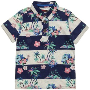 Boys Striped All Over Hawaiian Print Polo T-Shirt,hawaiian polo shirts