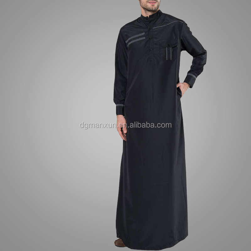 Islamic Clothing Nice Quality Modern Design Pakistan Men's Grey Accent Thobe Fashion Jubba