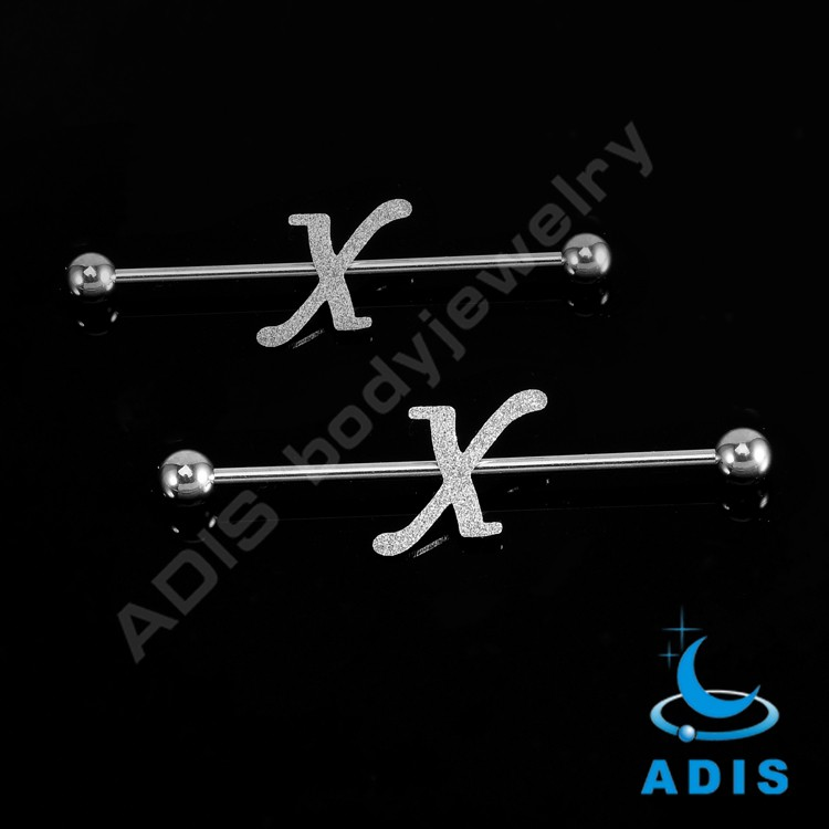 Surgical Steel wholesale letter design X fake industrial piercing jewelry
