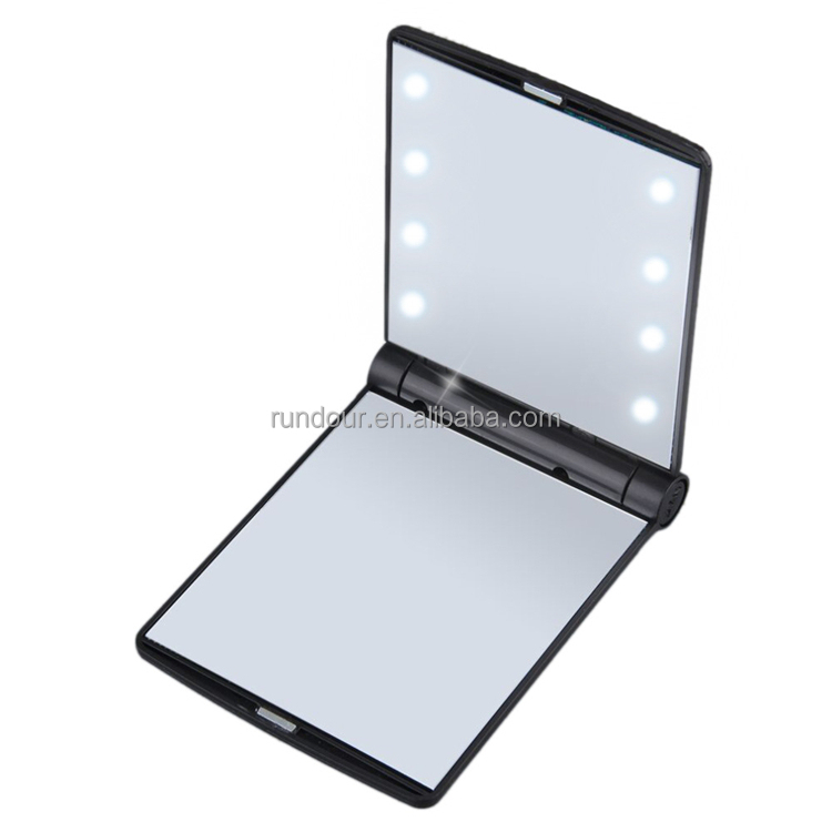 Hot 8 LED Makeup Travel Mirrors Mini Portable Folding Compact Hand Cosmetic Make Up Pocket Mirror With 8 LED Light for Women New