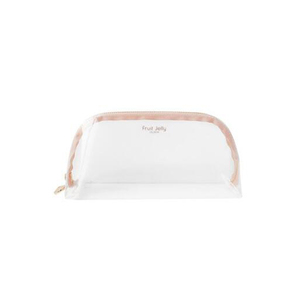 Beauty korean transparent pvc clear cosmetic bags makeup pouch with gold zipper