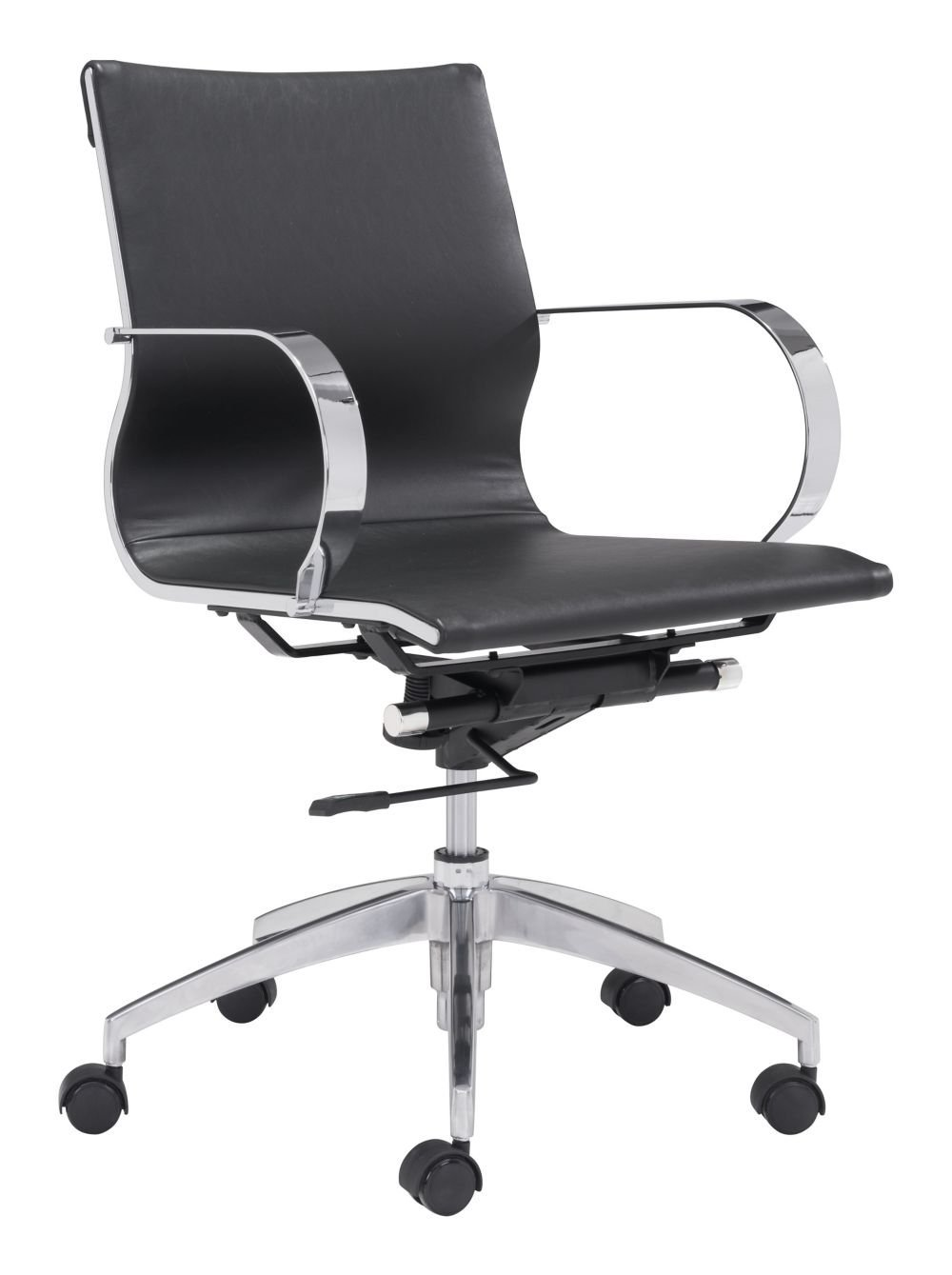 """Glider Low Back Office Chair Black Dimensions: 27.6""""W x 27.6""""D x 33.9-36""""H Weight: 34 lbs"""