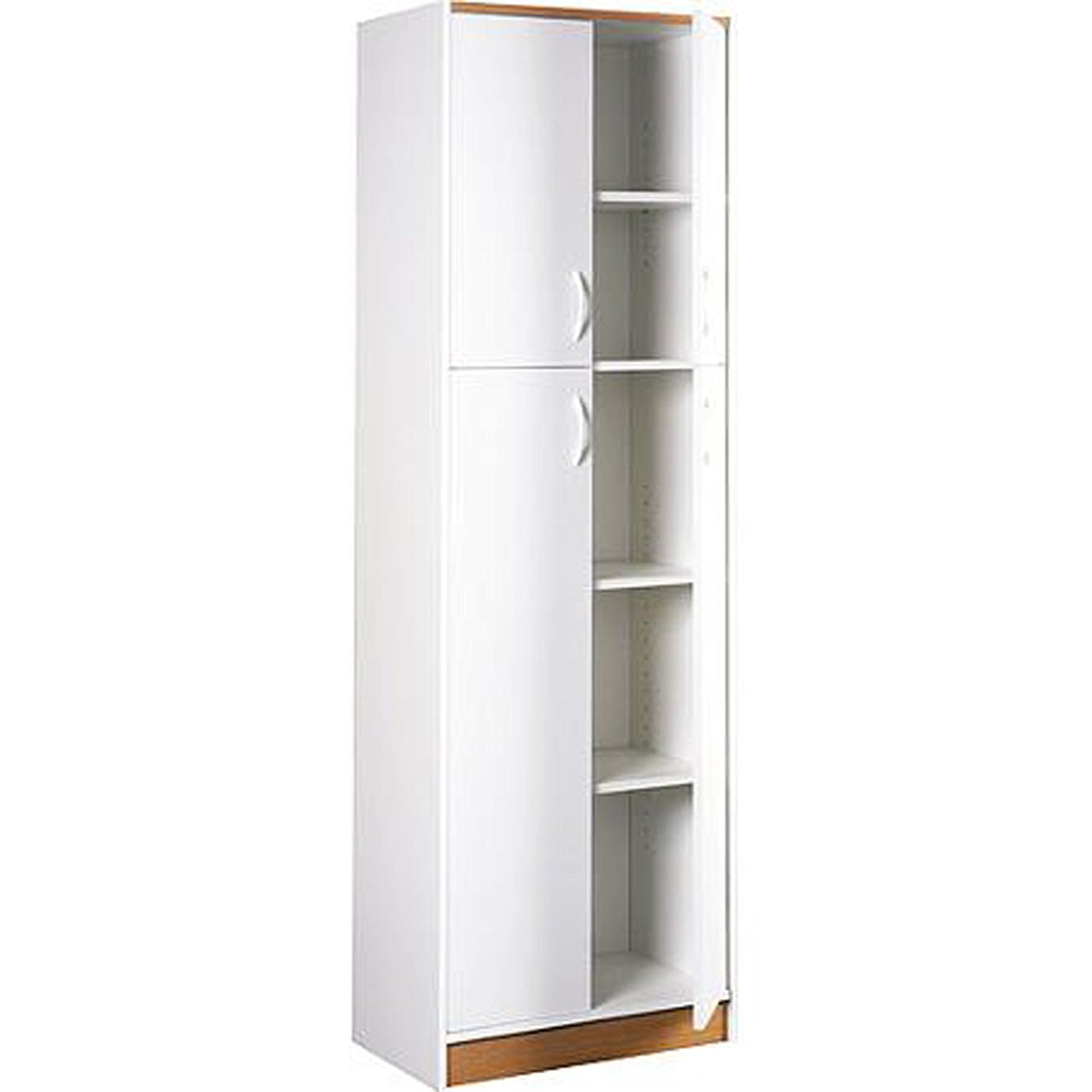 Get Quotations · Kitchen Pantry Storage Cabinet White 4 Door Wood Organizer  5 Shelves Furniture