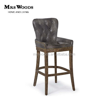 French Tufted Leather Wood Bar Stool
