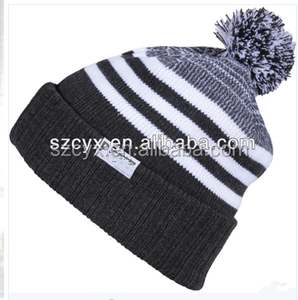 hand kint acrylic pom pom beanie hat with top ball