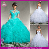 QQ453 organza layered wedding dress puffy organza quinceanera dresses turquoise