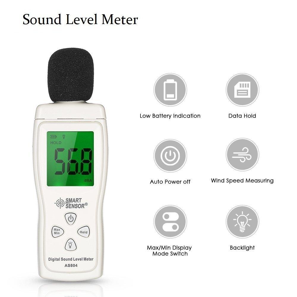 AS804 Mini Sound Level Meter Digital decibel meter tester Noise Measuring Instrument Decibel Monitoring Diagnostic-tool 30dB -130dBA