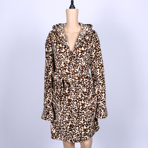 OEM service thermal hooded coral fleece leopard print sleepwear pajamas women