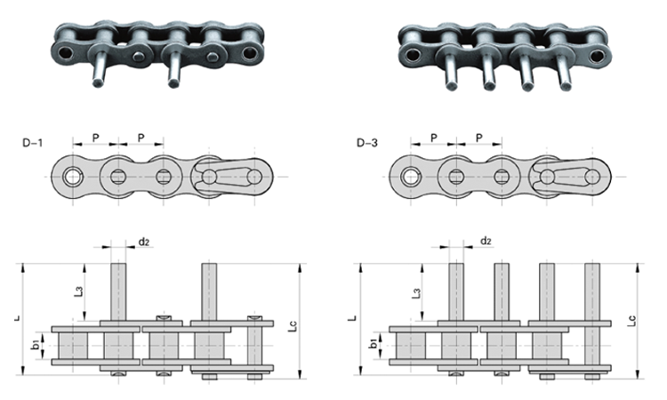06C 08A 10A Short Pitch Conveyor Chain With Extended Pins