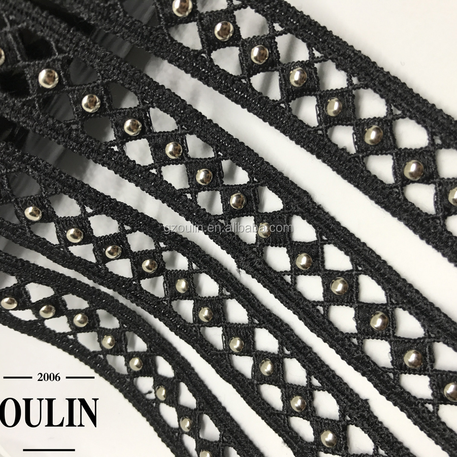 Stud lace trim type net lace polyester material metal stud lace trim cheap price factory directly sell