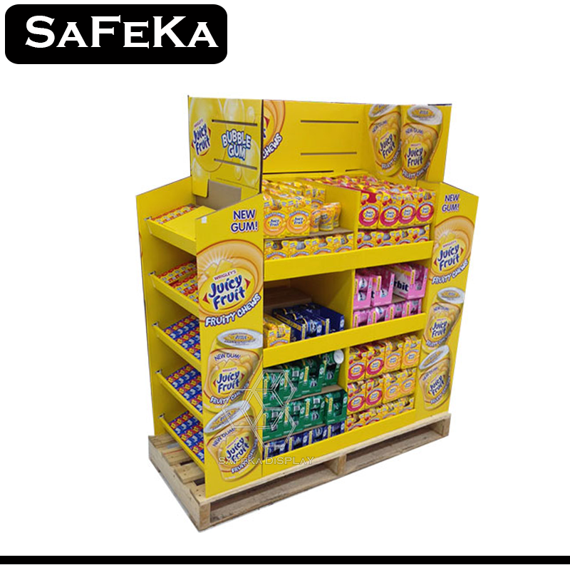 4 side Custom Retail Corrugated Paper Board Pdq Fancy Carton Floor Box Tray 1/2 Candy and gum pallet display Shelf