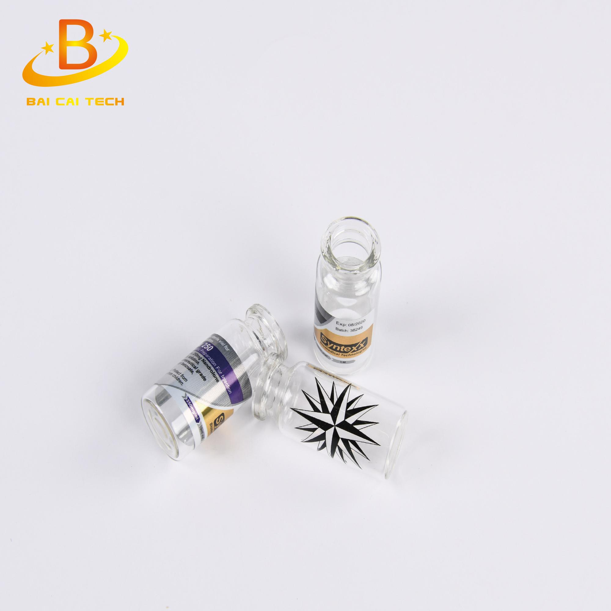Custom waterproof glass 10ml vial bottle with rubber stopper,top caps