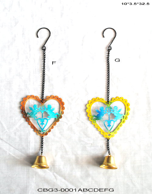 2017 Hot sale Colorful Metal Heart Wind Chime with Artistic Design for Garden Decoration