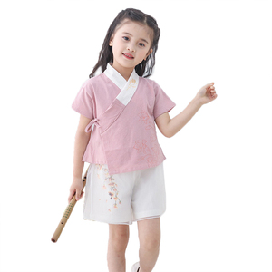 children clothes girls summer children clothing ethnic girl hanfu cotton-and-hemp suit kids clothing sets